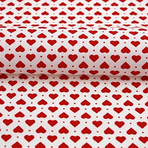 Hans-Textil-Shop Stoff Meterware Aneta Herzen Punkte Baumwolle - 1 Meter, Landhaus, Deko, Kissen, Bettwäsche, Tischwäsche (Weiß)