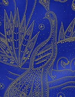 1 Yard Metallic Peacock from Timeless Treasures 100% Cotton Quilt Fabric Lux-CM9690 Cobalt