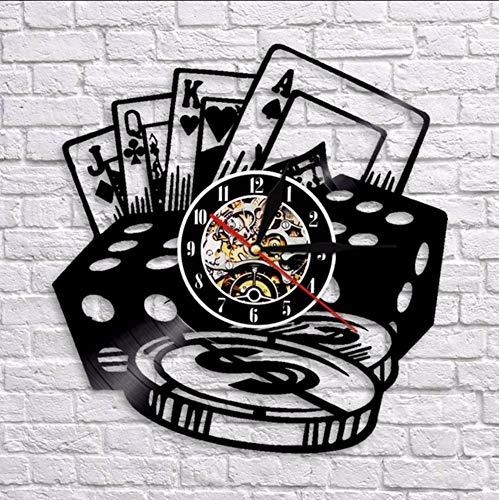 jukunlun Poker Stars Card Horloges Murales Disque Vinyle Horloge Murale avec Blacklight Creative 3D Décoratif Suspendu Noir Montre Décor À La Maison