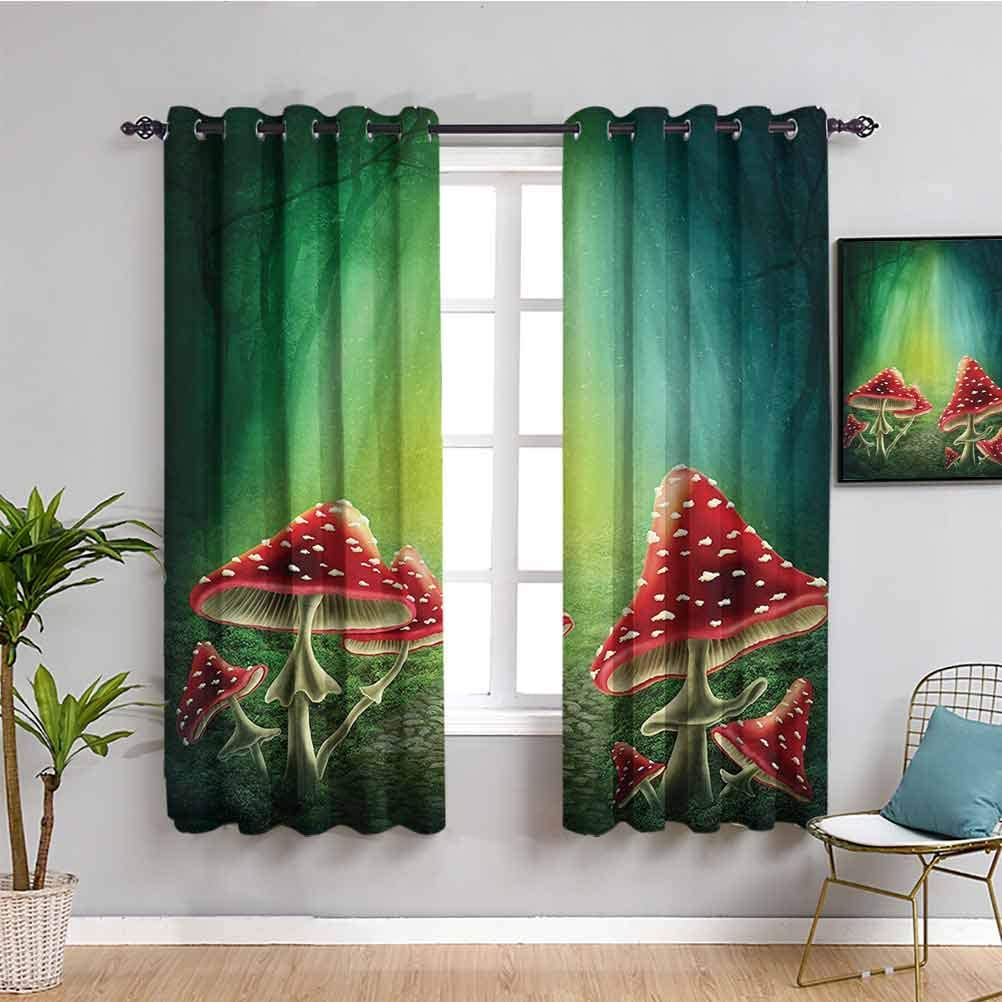 Ranking integrated 1st place Red Green Mushroom Soundproof Privacy with specialty shop Window House Curtains
