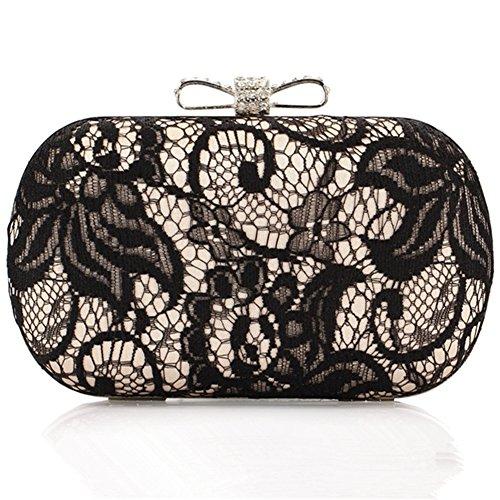 ERGEOB Damen Clutch Abendtasche Handtasche Clutch Kleine Spitze Handgelenkstaschen Brauttasche