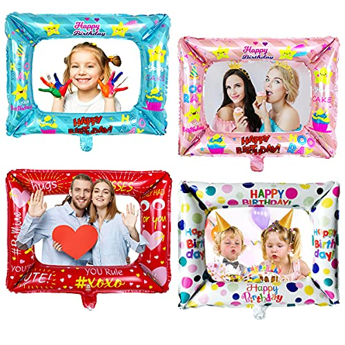 4 Pezzi Inflatable Frame Selfie Photo Booth Props Compleanno Party Frame Fun Puntelli Rifornimenti del Partito Compleanno Cornice Selfie per Compleanno Nuziale Festa Natale