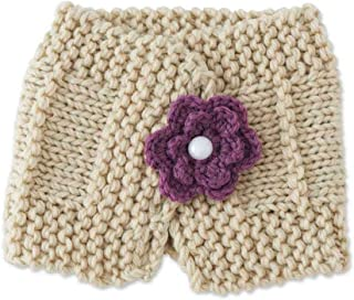 Baby Girls Handmade Knit Light Beige Scarf with Plum Flower