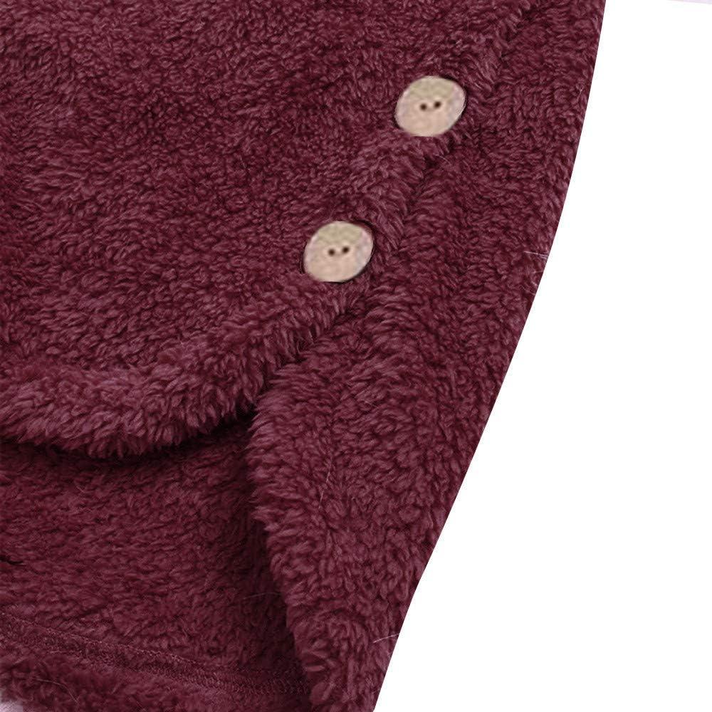 Lulupi Oversized Teddy Hoodie Damen Plüschmantel mit Taschen, Fleece Plüschjacke Herbst Einfarbige Pullover Winter Kapuzenpullover Sweater Outwear Wein-02