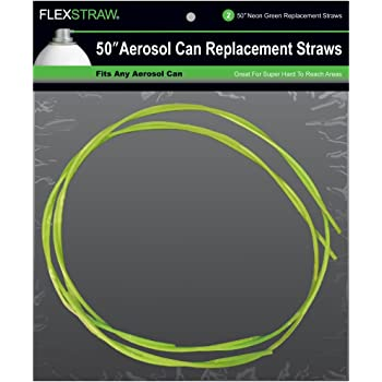 """ShopStraw FS250 FlexStraw Aerosol Can Replacement Straws, Neon Green, 50"""", 2-Count"""