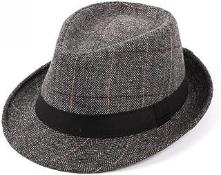 Mens Plaid Manhattan Trilby Fedora Hats Gangster Cuban Style Derby Hat Jazz Cap Grey
