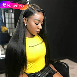 NEWNESS Synthetic Swiss Lace Wig Black Long Silky Straight Hair Imported Hair Human Hair Lace wig 30 Inches Similarity 90%