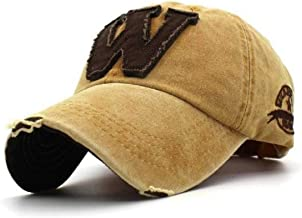 Aavjo Unisex Vintage W Letter Retro Snapback Denim Distressed Wearing Adjustable Summer Winter Hockey Baseball Sports Outdoors Hat Caps (Fit Head Size - 56cm to 60cm)