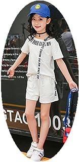 ftsucq Niñas letra impreso Off Camisa de hombro parte superior + pantalones cortos + 3piezas Floral handkies