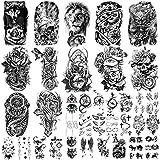 36 feuilles de tatouages temporaires autocollants, 12 feuilles de faux corps bras poitrine épaule tatouages pour hommes ou femmes avec 24 feuilles minuscules tatouages temporaires noirs.