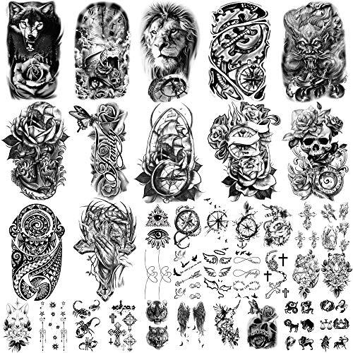 36 hojas de pegatinas de tatuajes temporales, 12 hojas de tatuajes falsos de cuerpo, brazo, pecho, hombro, tatuajes para hombres o mujeres con 24 hojas de tatuajes temporales negros diminutos.