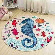 Round Cartoon Style Kids Carpets Anti-Skid Rugs for Bedroom/Bathroom Competer Chair Mats Cute Animals Rugs, Bath Mat Washa...