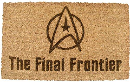 FastCraft Star Trek - Alfombrilla para puerta (60 x 40 cm, fibra de fibra de coco, para exterior, interior, suelo, entrada, entrada y ventilador, grabada con láser