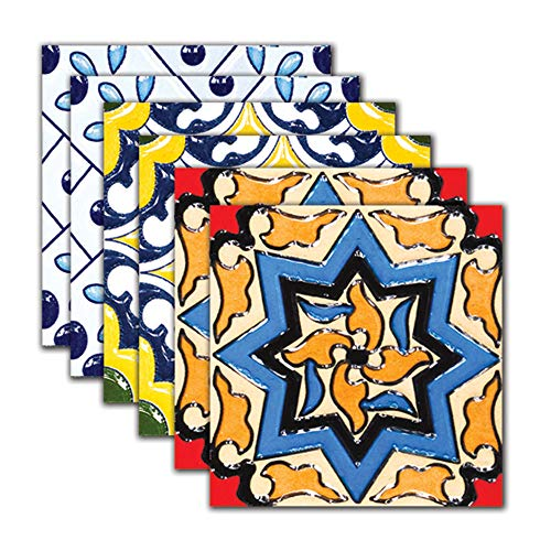 DNVEN 7.8 inches x 7.8 inches 6pc Tile Stickers Florencia Decorative Style Kitchen Backsplash Bathroom Vinyl Waterproof Peel and Stick Decals