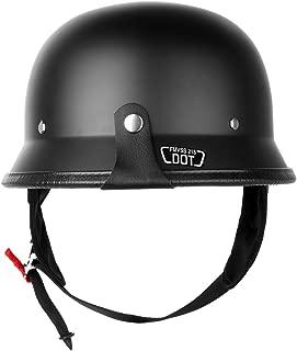 Iglobalbuy DOT Approved German Half Helmet Choooer Cruiser Custom Adult Motorcycle (M)