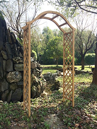 Marko Gardening Garden Arch Wooden Pergola Feature Trellis Rose Archway Natural Tan Wood Timber