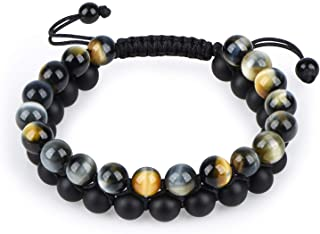 HASKARE Tiger Eye Stone Bracelet Men Women - Natural...