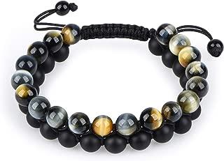 HASKARE Tiger Eye Stone Bracelet Men Women - Natural...