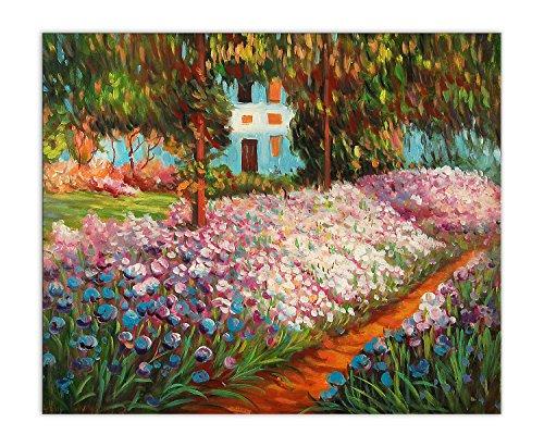 World Art, TWME042EAT-02, Iris nel giardino di Monet, Dipinti olio su tela Falsi d'autore, 50 x 60 x 2 Cm