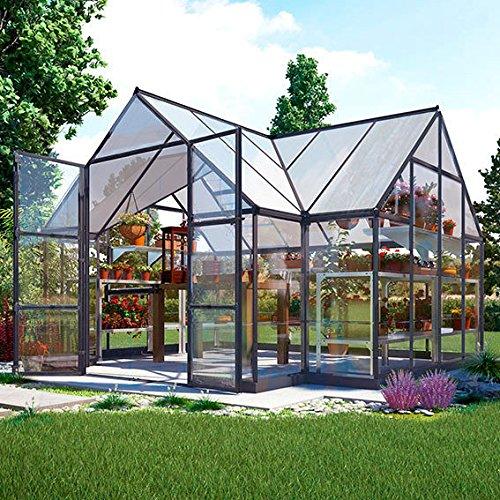Gärtner Pötschke Palram Gewächshaus Victory Orangerie inkl. Stahlfundament, 305 x 365 x - 10,5 qm, anthrazit