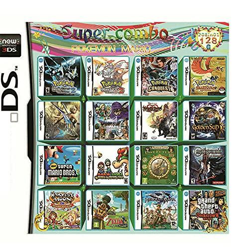 208 en 1 Pack de jeu NDS , Super Combo Multicart DS Game Card pour DS, NDSL, NDSi, NDSi LL/XL, 3DS, 3DSLL/XL, New 3DS, 2DS, New 2DS