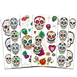 Day of the Dead Sugar Skull Stickers and Temporary Tattoos Pack -- 40 Premium Sugar Skulls Stickers and 27 Day of the Dead Temporary Tattoos for Woman Men Kids