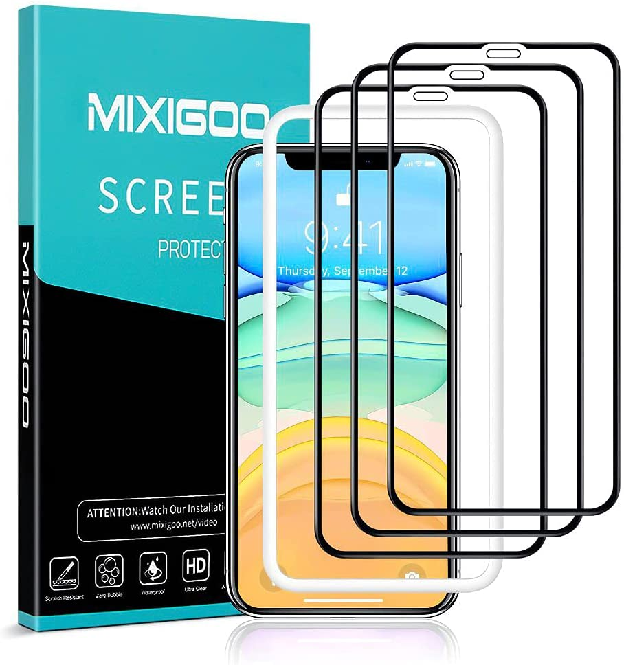 mixigoo 3 Piezas Protector Pantalla para iPhone 11/iPhone XR, Cobertura Completa Cristal Templado iPhone XR [Marco Instvalación Fácil] Anti-Burbujas Dureza 9H Vidrio Templado iPhone 11/XR, 6.1 -Negro