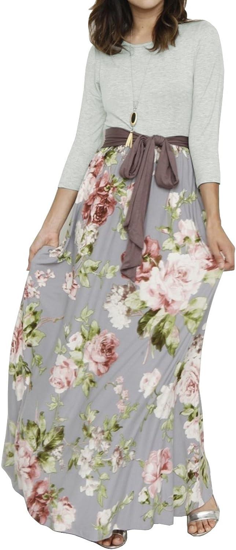 Valphsio Womens Long Sleeve Floral Maxi Dresses Tie Waist Crewneck Boho Long Dress