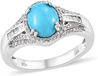 925 Sterling Silver Sleeping Beauty Turquoise Diamond Ring Platinum Plated Jewelry Size 8 Ct 0.1