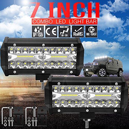 TUINCYN Barre lumineuse LED 17,8 cm 120 W Combo Faisceau lumineux de travail LED étanche pour camionnette, camion, Jeep, ATV, UTV, SUV, bateau (Lot de 2)
