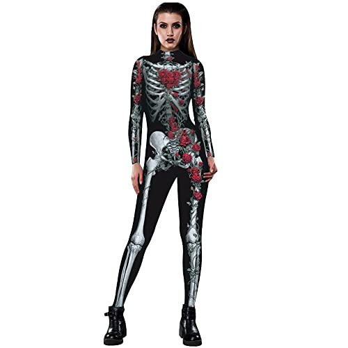 0dd5b04db937 HOMEBABY Womens Halloween Jumpsuit Long Sleeve Performance Costumes Rose  Skeleton Movement Breathable Halloween Party Fancy Play