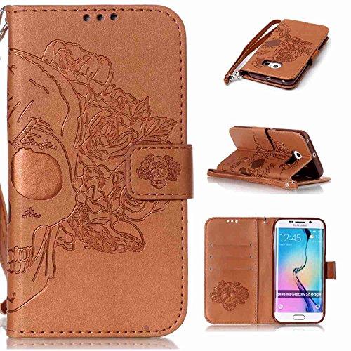 pinlu Schutzhülle Für Samsung Galaxy S6 Edge (5.1 Zoll) Handyhülle Hohe Qualität PU Ledertasche Brieftasche Mit Stand Function Innenschlitzen Doppelt Geprägt Schädel Design Braun