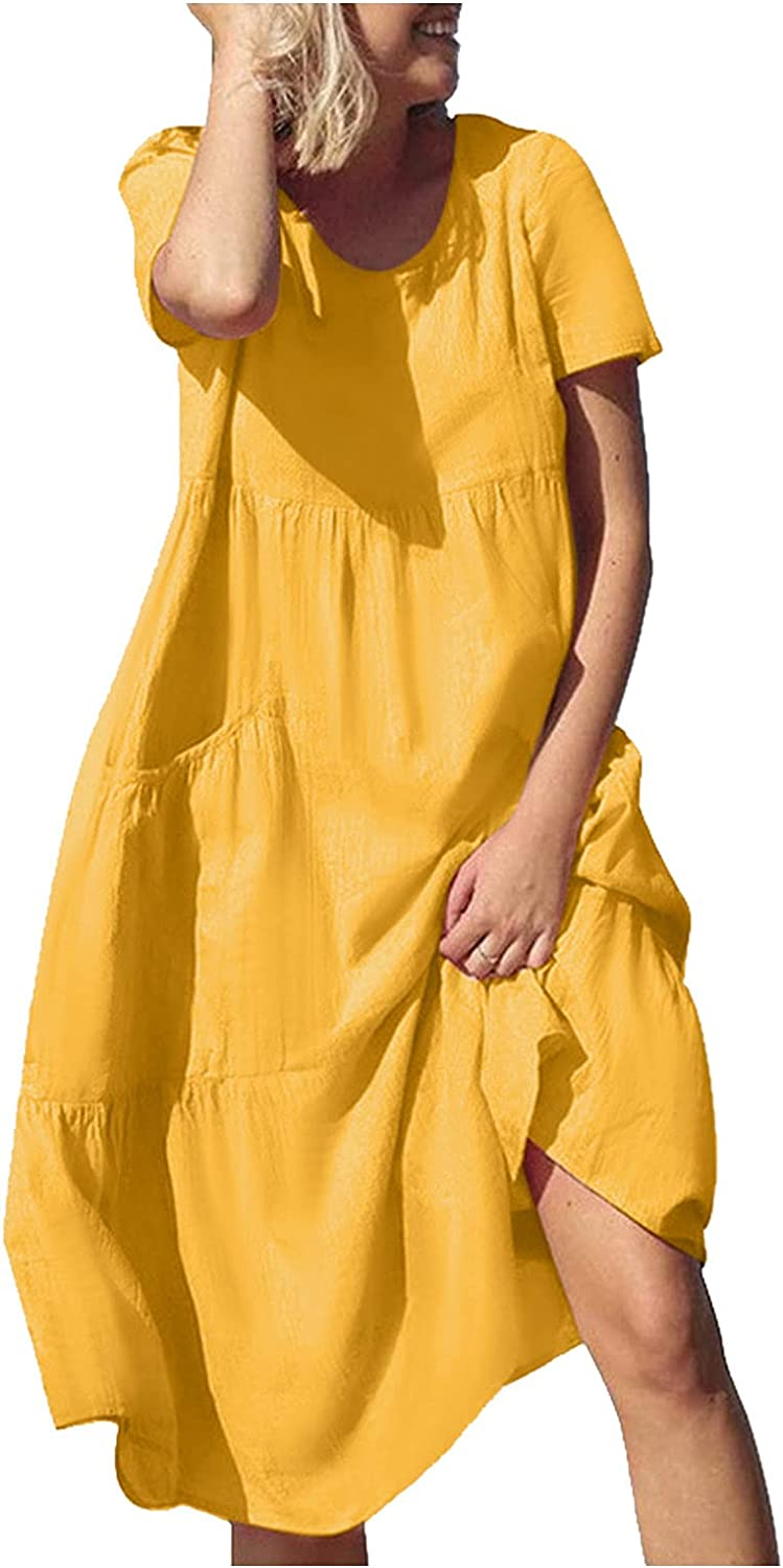 NLLSHGJ Sexy Dresses for Women Summer Casual Dress Round Neck Casual Loose Personality Solid Color Cocktail Beach Dresses