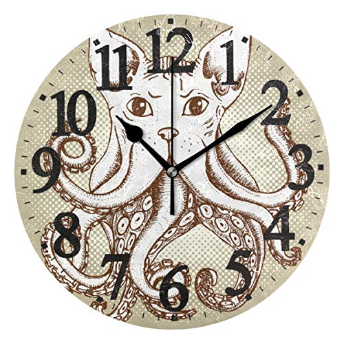 Ahomy Mixed Cat and Octopus - Reloj de Pared (24 cm, Funciona con Pilas, fácil de Leer, para casa, Oficina, Escuela)