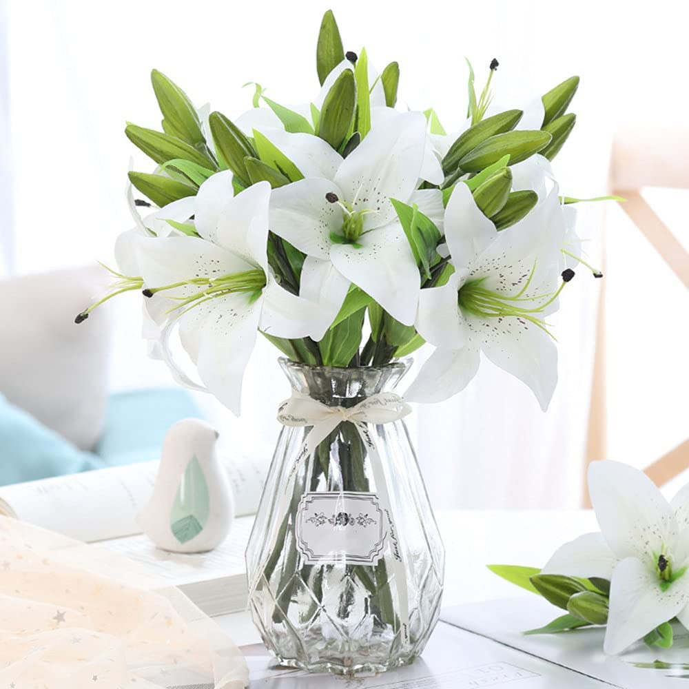 Artificial Tiger Lily 5pcs Latex Fake Flowers Real Touch Bouquet for Wedding Party Home Office Garden Hotel Decor (White)