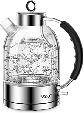 Electric Kettle, ASCOT Glass Electric Tea Kettle 1.7L, 1500W, Stainless Steel Tea Heater & Hot Water Boiler, Borosilicate Glass, BPA-Free, Cordless, with Auto Shut-Off and Boil-Dry Protection