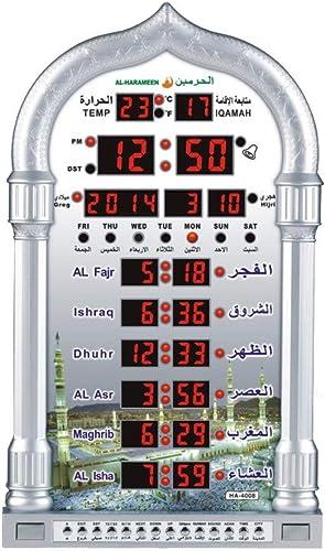 ZUZU Reloj con brújula Calendario Temp Luz de Fondo Oración Alarma Hora Mezquita Forma Color Dorado,A