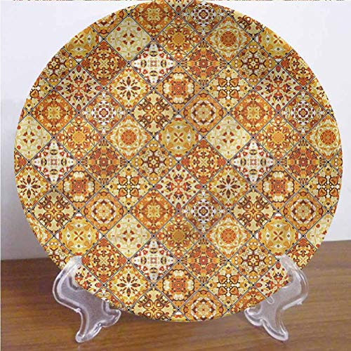 Channing Southey - Placa decorativa decorativa impresa en 3D, diseño de rombos geométricos redondos de porcelana de cerámica, adorno de cerámica, accesorio para decoración de pared de hogar y oficina