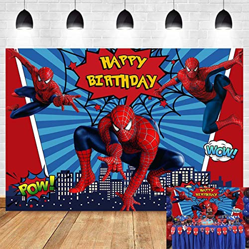 Red Spiderman Photography Backdrop Baby Boys Happy Birthday Party Decorations Vinyl Children Photo Booth Studio Props Background Superhero Cityscape 5x3ft Banner Dessert Table Baby Shower Supplies