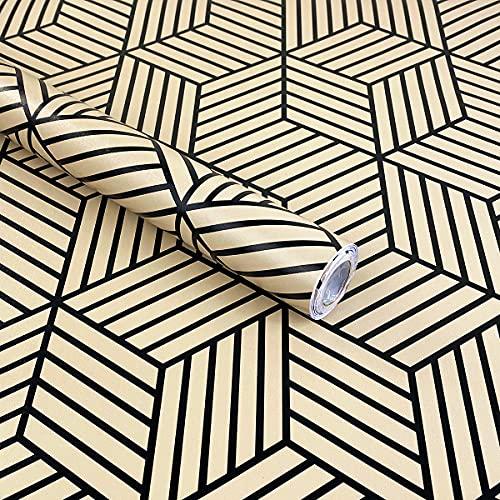 Mesoar Papel pintado despojado negro hexágono rayas negras papel adhesivo Peel Stick película de vinilo estante cajón Liner rollo de plástico adhesivo 45 cm x 300 cm