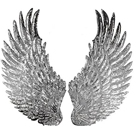 1 Pair Jumbo Angel Wings Sequin Patches Iron On Sew On Appliques Embroidered Motif For Diy Clothing Accessories Silver Amazon Co Uk Kitchen Home