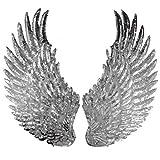 1 par de parches de lentejuelas con alas de ángel para coser o coser en apliques, diseño bordado para accesorios de ropa DIY., plata, 33cm*18cm(13inch*7inch)