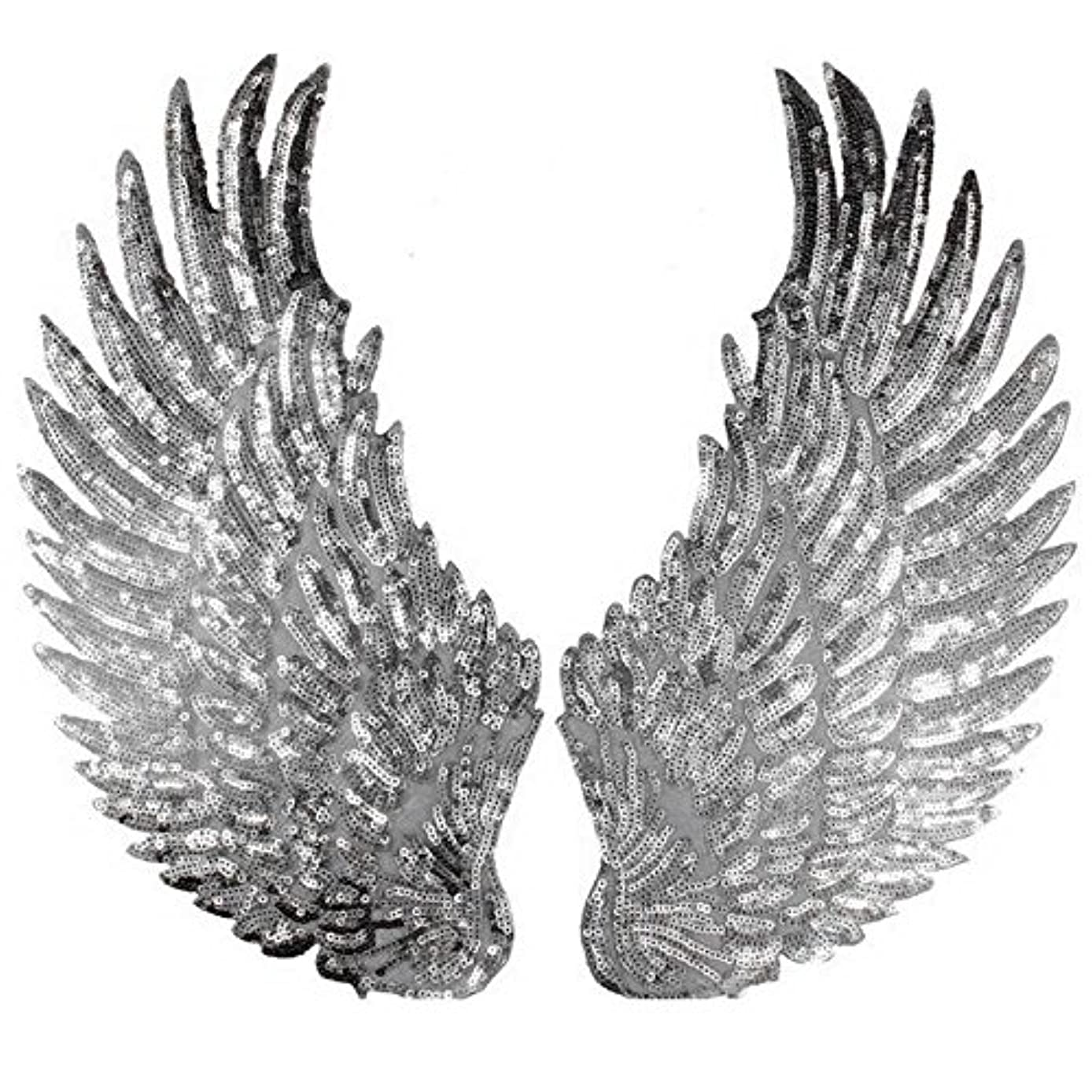 Large Angel Wings Sequin Patches Iron on Sew on Appliques Embroidered Motif for DIY Clothes (Silver)