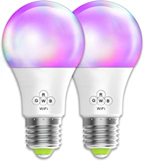 Smart Bulb No Hub Required, Magic Hue A19 E26 (40w Equivalent) Multicolored Dimmable WiFi LED Bulb, Compatible with Alexa Google Home Siri IFTTT (2 Pack)