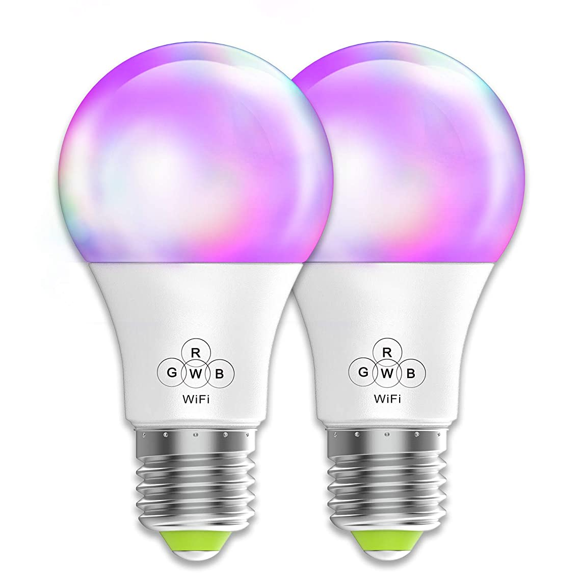 Magic Hue Smart WiFi Light Bulb, No Hub Required, A19 E26 40 Watt Equivalent Multicolored Wall Lamps & Sconces, Compatible with Alexa Google Home and Siri Shortcut - 2 Pack