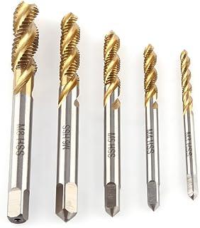 5 pc/lot recubierto de titanio HSS espiral roscado grifo conjunto rosca herramienta de roscado M3 M4 M5 M6 M8