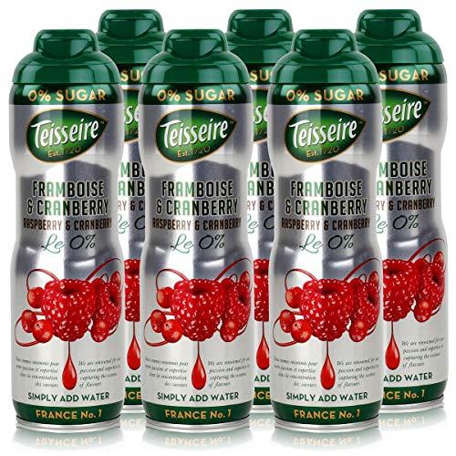 Teisseire Getränke-Sirup Raspberry & Cranberry 0% - 600ml - Sirup der genauso schmeckt wie die Frucht (6er Pack)