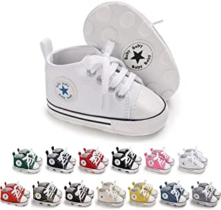 Best Save Beautiful Baby Girls Boys Canvas Sneakers Soft Sole High-Top Ankle Infant First Walkers Crib Shoes Reviews