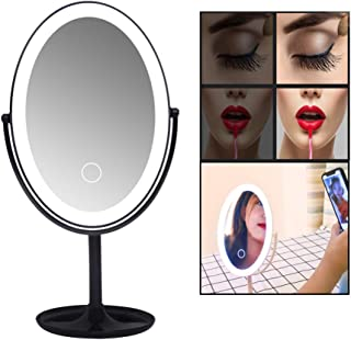 Makeup MirrorLED Lighted Makeup Vanity Mirror, Touch-Screen Light Control 360 Degree Rotation Tabletop Cosmetic Mirror