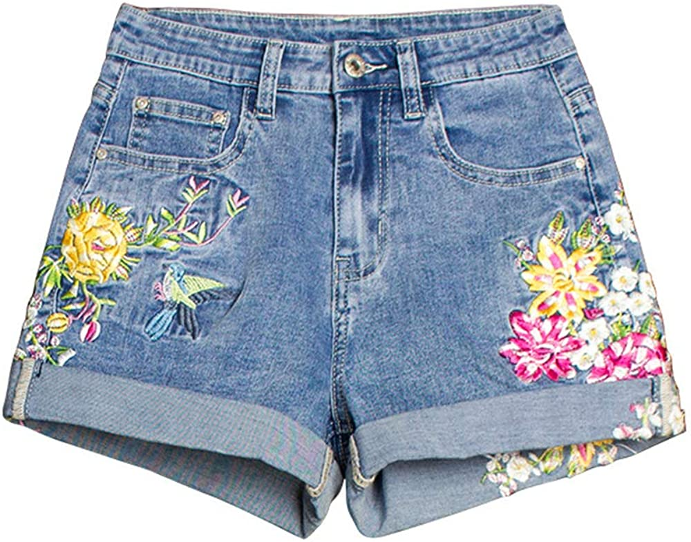 CTAU Women's Denim Shorts Mid-Rise Stretch Shorts Embroidered Shorts Jeans